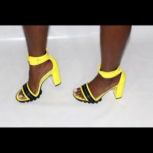 Caution Platform Sandal Heels